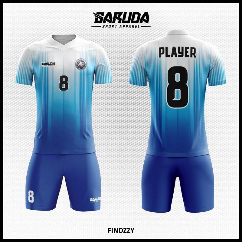 Desain Jersey Futsal Printing Findzzy Warna Biru Putih Yang Menawan