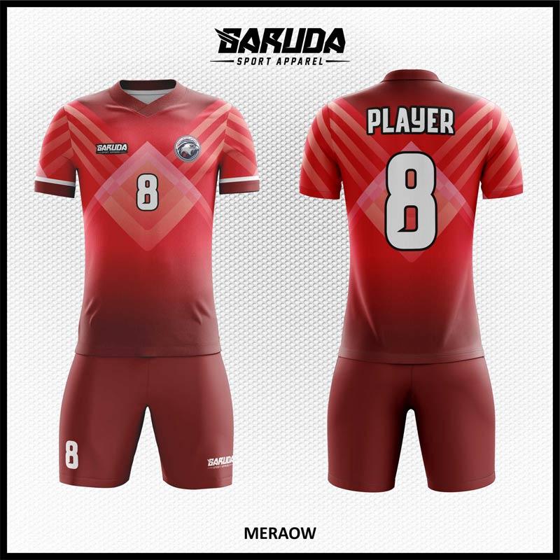 Desain Kaos Futsal Full Print Meraow Warna Merah Maroon Yang Trendy