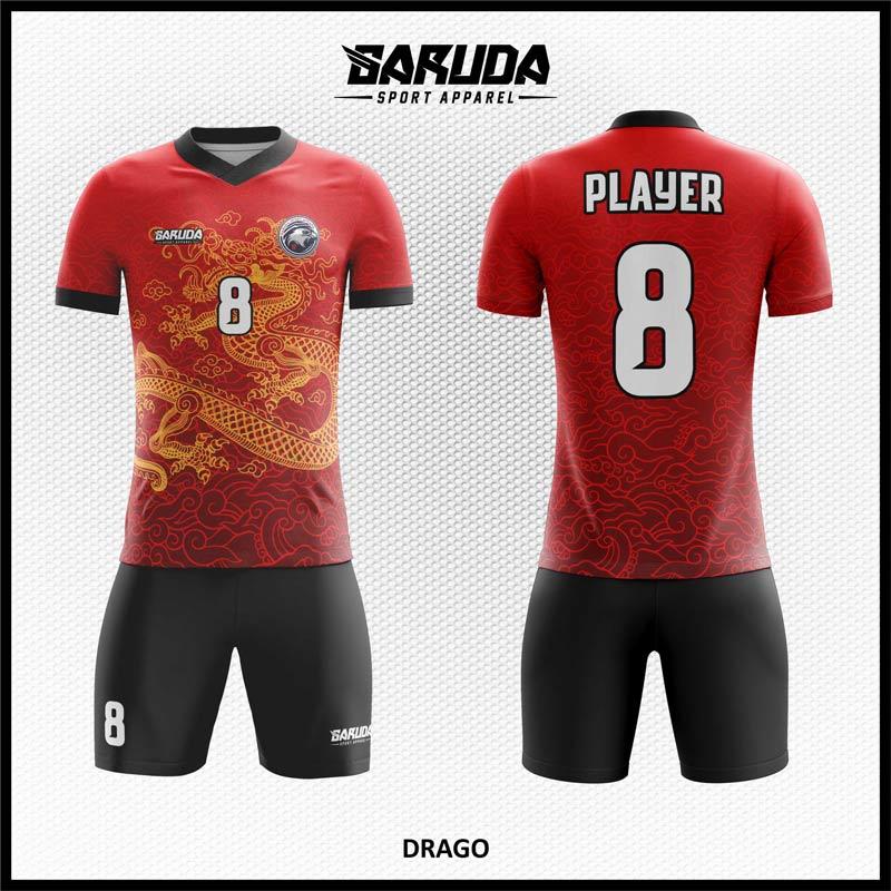 Desain Jersey Futsal Printing Drago Warna Merah Hitam Motif Naga