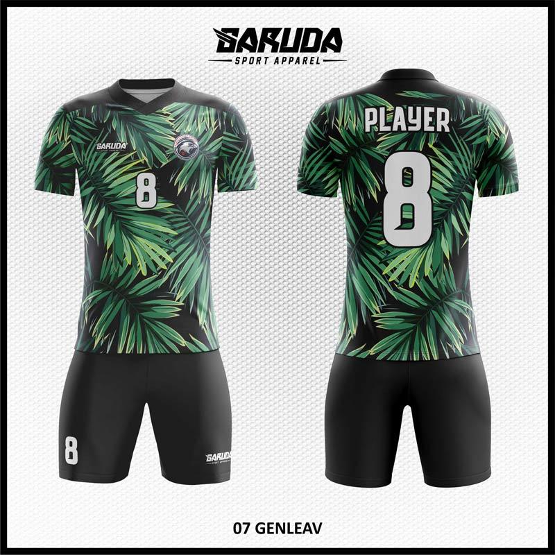 Desain Seragam Sepakbola Printing Genleav Warna Hitam Hijau Motif Daun