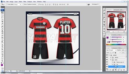 Proses Desain Template Kostum Futsal oleh tim Garuda Print