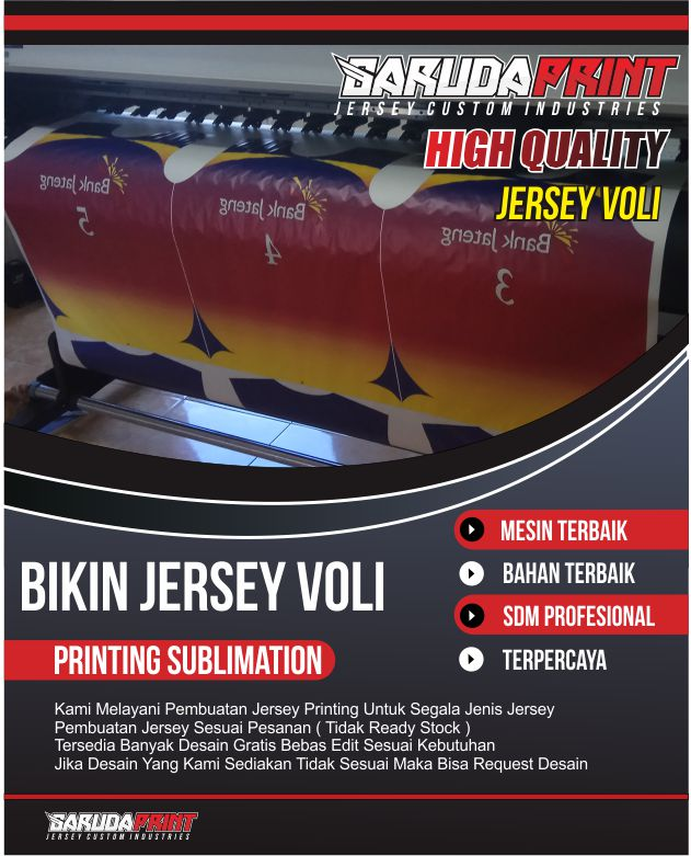 Pembuatan Jersey Voli Desain Custom