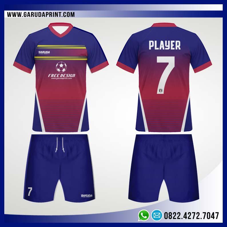 Desain Jersey Bola Futsal 82 - Red Blue Fantasia