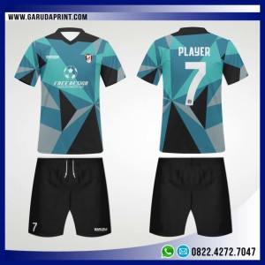 Desain Jersey Bola Futsal 86 – Blue Abstract