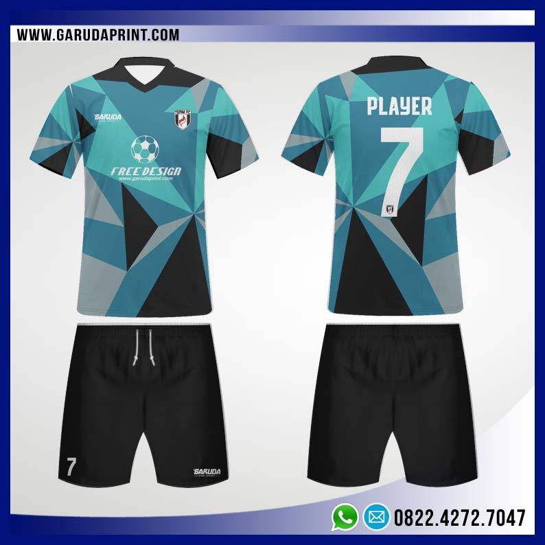Desain Jersey Bola Futsal 86 - Blue Abstract