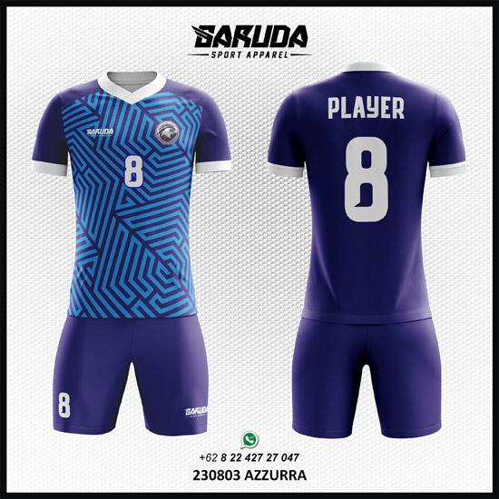 Desain Baju Futsal Sepakbola Azzurra warna biru