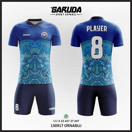 Desain Baju Futsal Motif Batik warna biru