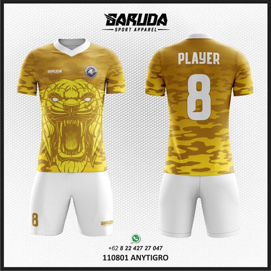 Desain Baju Sepak Bola Warna Kuning gambar harimau