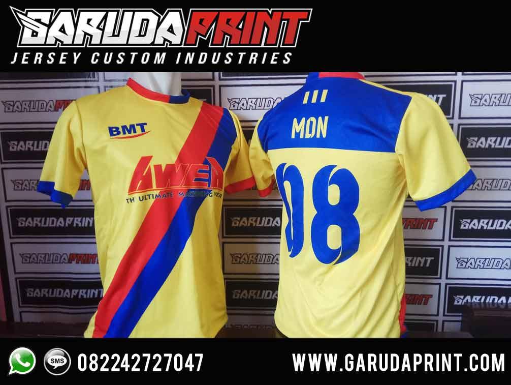 Desain Baju Sepak Bola Warna Kuning kombinasi biru printing
