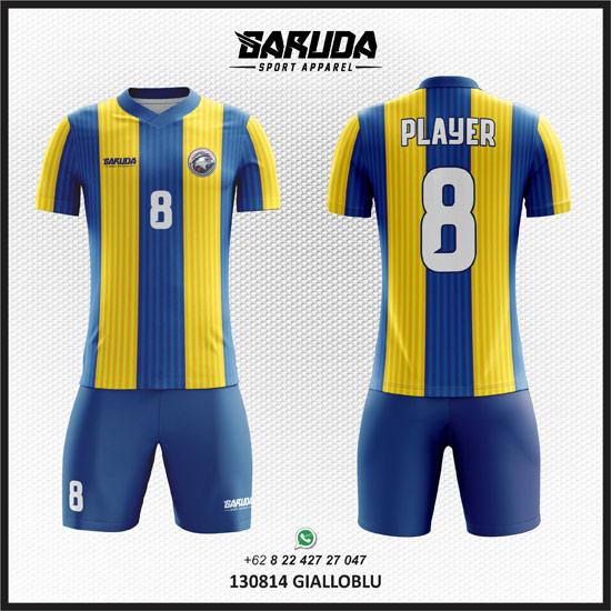 Desain Baju Sepak Bola Warna Kuning kombinasi biru