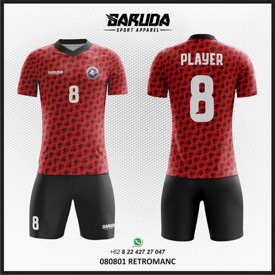 Desain Kaos Futsal Hitam Merah Yang Keren