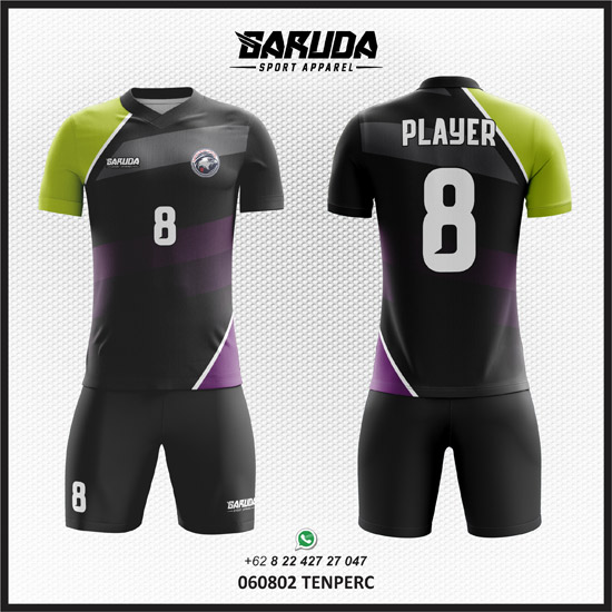 Desain Kaos Futsal Hitam kombinasi hijau