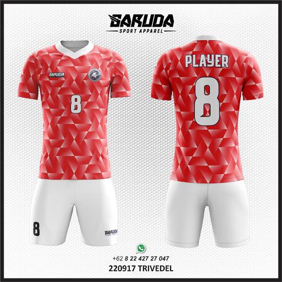 Desain Kaos Futsal Keren Depan Belakang Terbaru warna merah