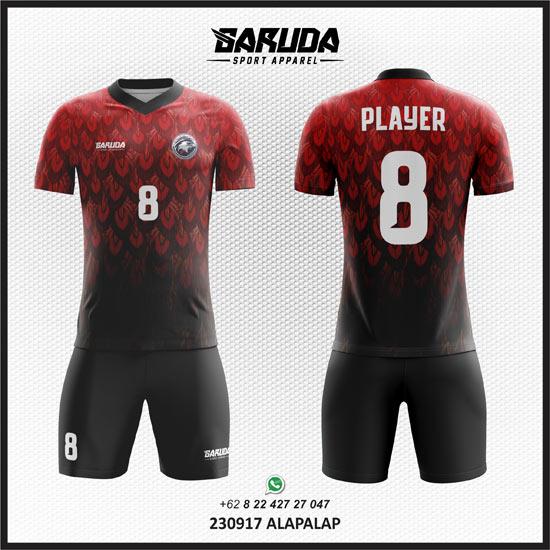 Desain Kostum Futsal Printing Alap Alap merah gradasi hitam
