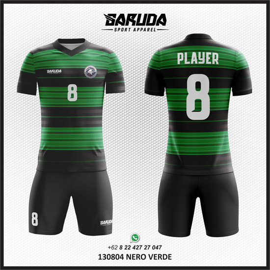 Desain baju Futsal warna Hitam Hijau