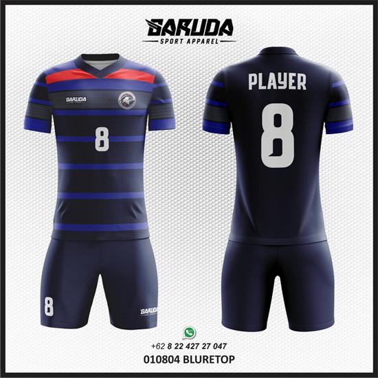 Desain Kaos Futsal Depan Belakang Warna Biru Yang Elegan Garuda Print