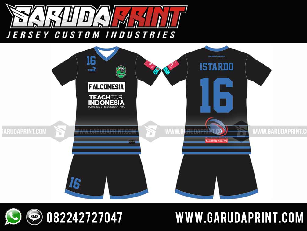 Ide Desain Kaos Futsal Biru Hitam Menarik
