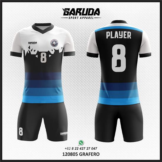 desain jersey futsal custom warna hitam putih biru