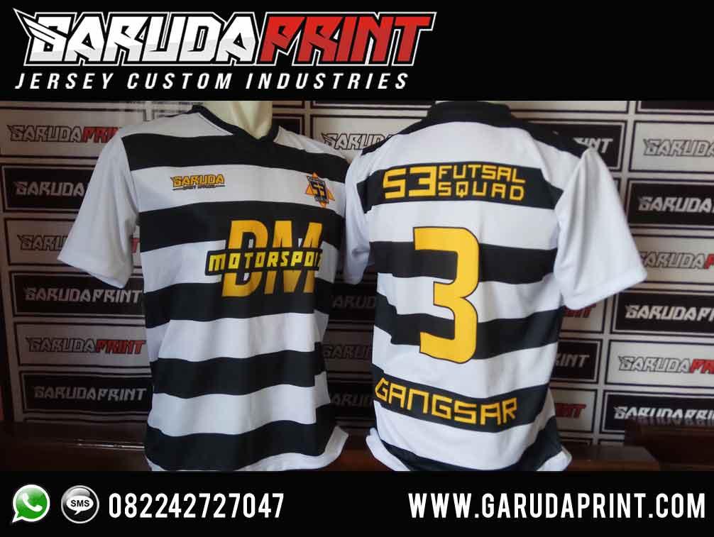 Jasa Desain Kaos Futsal Hitam Putih Full Print