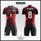 Desain Baju Futsal Printing Keren Merah- Pucamo