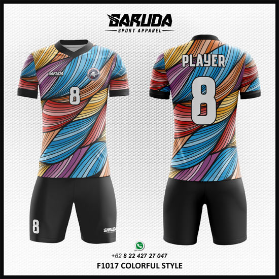 Desain Baju Futsal Printing keren Colorfull Style warna warni