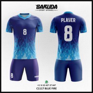 Desain Kaos Futsal Printing Blue Fire – Gambar Api Warna Biru