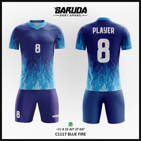 Desain Kaos Futsal Printing Blue Fire - Gambar Api Warna Biru