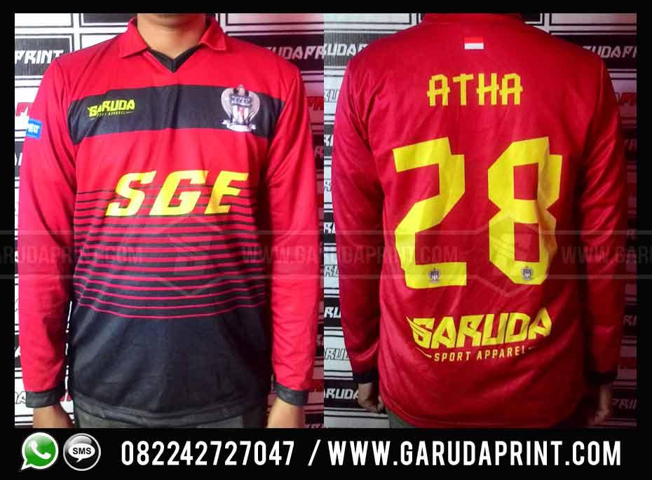 pembuatan Kaos Futsal Merah Hitam printing lengan panjang