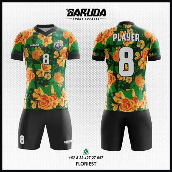Desain Baju Futsal / Bola Floriest Motif Bunga