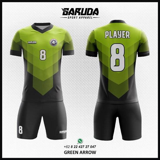 Desain Kaos Futsal Printing Green Arrow warna hijau keren