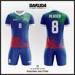 Desain Kostum Futsal Printing Diagonal Halftone