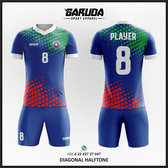 Desain Kostum Futsal Printing Diagonal Halftone warna biru keren
