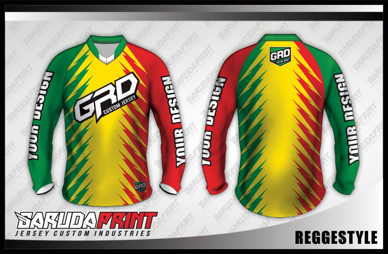 desain baju sepeda downhill kuning hijau merah