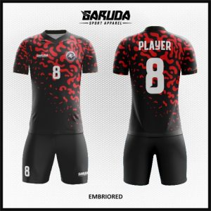 Desain Baju Futsal Tebaru Embriored Hitam Merah