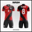Desain Baju Futsal Terbaru Noncuranza Merah Hitam