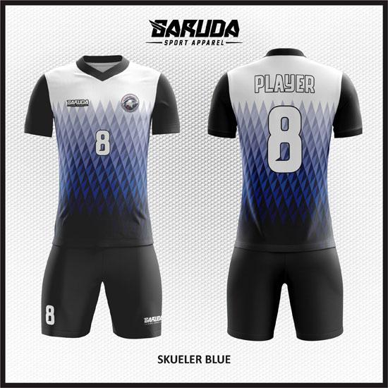 Desain Jersey  Futsal Printing Skueler-Blue Tampilan Keren'