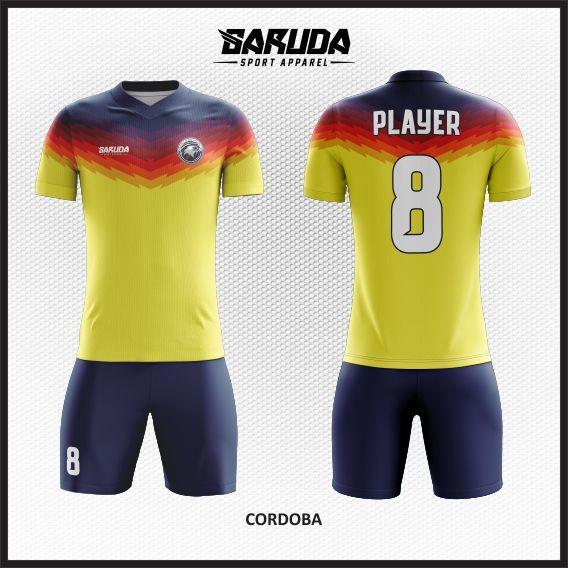 Desain Kaos Futsal Custom Cordoba Dominan Warna Kuning