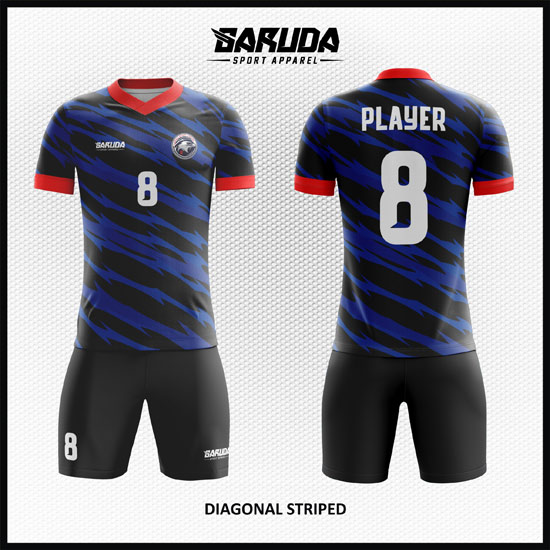 Desain Kaos Futsal Printing Diagonal-Striped yang Keren