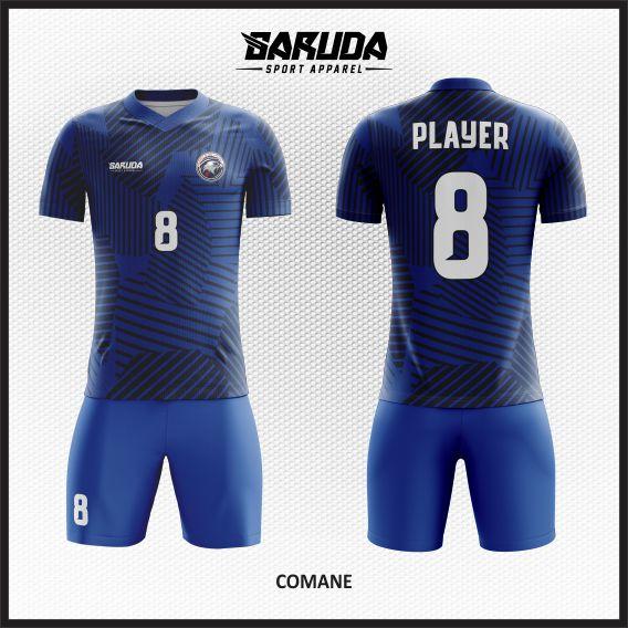 Desain Kostum Futsal Printing Comane Si Biru Berkelas