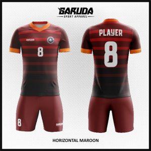 Desain Kaos Sepakbola dan Futsal Horizontal Maroon Millenial