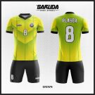 Desain Jersey Futsal Grewn Kuning Hijau List Hitam