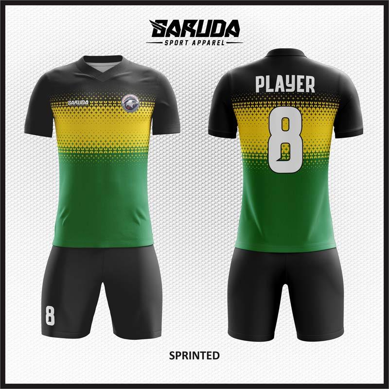 Desain Baju Futsal Code  Sprinted Warna Hitam Kuning dan Hijau