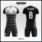 Desain Kostum Futsal Kode Zigblack Gagah Menawan Warna Hitam Putih