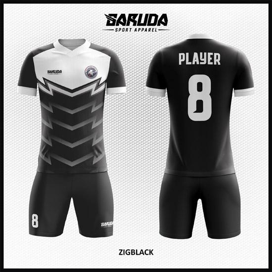37 Desain Kostum Futsal Kode Zigblack Gagah Menawan hitam putih