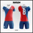 Desain Baju Futsal Code Cevko Warna Merah Putih Biru