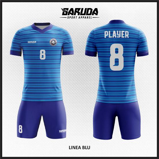 Desain Seragam Sepakbola Dan Futsal Linea Blu Garis Horizontal Biru