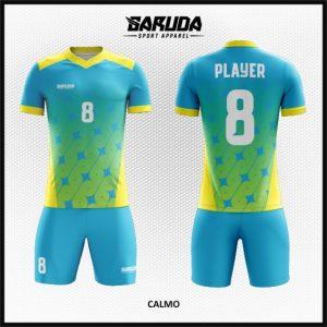 Desain Baju Bola Futsal Calmo Biru Kuning Keren