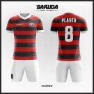 Desain Jersey Futsal Flamou Merah Hitam Horizontal