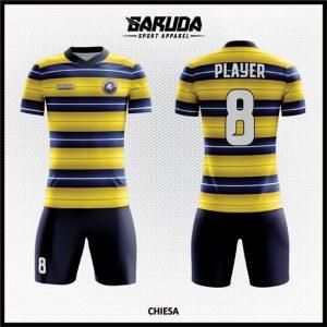 Desain Kaos Sepakbola Full Print Code Chiesa yang Terbaru Kuning Kombinasi