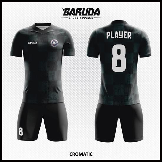 Desain Kaos Sepakbola Full Print Code Cromatic Hitam Menawan